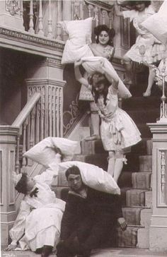 Good, Old fashioned pillow fight.  Are you ever to old for a pillow fight.  It would be perfect after a stressful day!