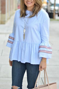 stripe bell sleeve top outfit - embroidered bell sleeve top with skinny jeans | www.fizzandfrosting.com Bell Sleeve Top Outfit, Womens Linen Clothing, Mode Abaya, Iranian Women Fashion, Clothing Blogs, Stylish Dress Designs, Ladies Dress Design, Fashion Outfits, Clothes For Women