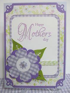 Mother's Day handmade card.  Gingham Flower!