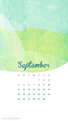 Blue Green Watercolor September Calendar 2016 Wallpaper You Can Download  For Free On The Blog!
