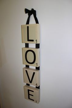 Scrabble Wall Art Canvas LOVE vertical by BellaAndDottyDesign