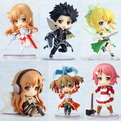 Anime Sword Art Online SAO Asuna Kirito 6 Pieces Toy Figures 7CM New in Box #Figurines