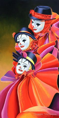 'Carnival Clown' by Graeme Stevenson Clown Paintings, Indian Art Paintings, Art And Illustration, Portrait Art, Clowns, Amazing Art, Fantasy Art, Modern Art, Pop Art