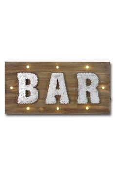 CRYSTAL ART GALLERY 'Bar' Marquee Light Wooden Sign available at #Nordstrom