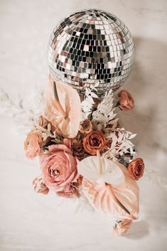 A disco themed networking event for women in the creative industry. Disco balls and colored baby's breath floral installation were highlights of the design. Design and styling by Mae&Co Creative, West Coast event planner. Disco Theme, Disco Party, Disco Ball, 70s Party, Boho Wedding, Floral Wedding, Wedding Flowers, Dream Wedding, Wedding Day