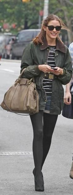Who made Olivia Palermo's green jacket, sequin stripe dress, black boots, black sunglasses, brown purse and belt that she wore in New Yok? Belt – Tibi Purse and shoes – Chloe Sunglasses – Ray Ban Dress – Markus Lupfer Jacket – Barbour Beaufort Classic