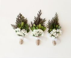 groomsmen boutonniere, woodland wedding, natural keepsake, rustic boho boutonniere - CEDAR (one boutonniere) on Etsy, $12.00