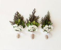 groomsmen boutonniere, woodland wedding, natural keepsake, rustic boho boutonniere - CEDAR (one boutonniere) on Etsy, $12.00