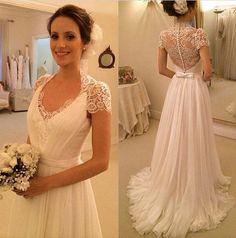Elegant Short Sleeves Sheer Mermaid Lace Bridal Gowns vintage wedding dress