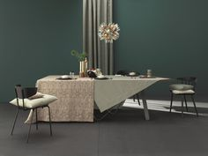A modern and minimalistic approach to Christmas. Tableclothes: Mariage and Uni Dining Table, Minimalist, Uni, Apartments, Furniture, Christmas, Home Decor, Weddings, Homes