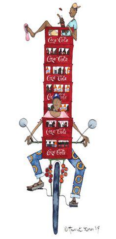 Coca cola delivery Hungry Hearts, Dip Pen, Coca Cola, Delivery, Watercolor, Ink, Colour, Traditional, Humor
