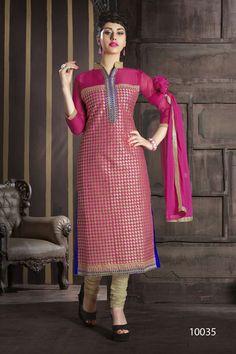 Stylish Pink Color Cotton Salwar Kameez