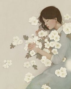 """crossconnectmag: """" Dreamy Illustrations by Jiwoon Pak Jiwoon Pak is an illustrator and artist based in Seoul, South Korea. After studying fine art at the Valenciennes Art and Design school (École. Art And Illustration, Illustrations And Posters, Korean Illustration, Art Chinois, Kunst Online, Photo Vintage, Asian Art, Japanese Art, Oeuvre D'art"""