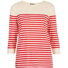 TOPSHOP Half Sleeve Bretton Stripe Top ($20) ❤ liked on Polyvore featuring tops, topshop, sweaters, long sleeve top, red, red top, striped top, pink long sleeve top, topshop tops and elbow length tops