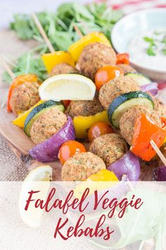 Kebabs with a difference! You'll love these falafel and Mediterranean roast vegetable skewers. Quick and easy to make and delicious, great for any meal. These falafel kebabs are particularly good as a vegetarian BBQ or grill option. Vegetarian Grilling, Grilling Recipes, Veggie Recipes, Vegetarian Recipes, Healthy Recipes, Healthy Grilling, Barbecue Recipes, Barbecue Sauce, Vegetarian Skewers