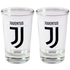 02e84e8e14c Juventus F C - set of 2 shot glasses - approx 7cm tall - in a display