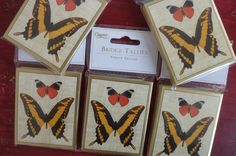 Bridge Tally Cards Vintage Collection of 5 Packaged Sets NOS Made by Caspari Printed in Switzerland Butterfly Design by ZoomVintage on Etsy