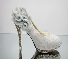 Silver Fantastic Five Roses Golden Heels Women's Prom Shoes : Tidebuy.com