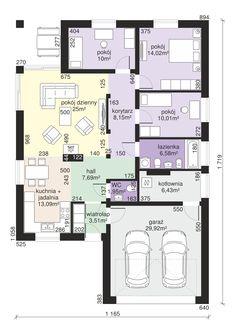 Rzut Dom przy Pastelowej 7 bis CE Building Design, Building A House, Dream House Plans, Planer, Bungalow, My House, Architecture Design, Sweet Home, Floor Plans