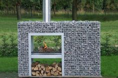 Fireplace made out of gabions.