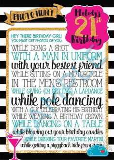 Birthday Scavenger Photo Hunt Personalized by 21st Birthday Games, 21st Birthday Checklist, 21st Bday Ideas, Girl Birthday, Birthday Ideas, Crazy Birthday, Vegas Birthday, Birthday List, Birthday Parties