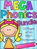 MEGA Phonics Worksheet Bundle - Pre-K Kindergarten Distance Learning Pre K Activities, Spelling Activities, Phonics Worksheets, Preschool Learning Activities, Kindergarten Worksheets, Teaching Resources, Preschool Phonics, English Activities, Teaching Ideas