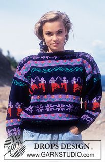 "DROPS jumper with pattern borders in ""Alaska"". ~ DROPS Design"