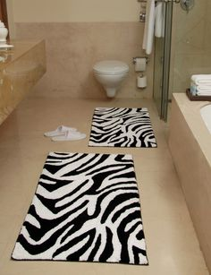 Elegant Black And White Bath Rug Animal Zebra