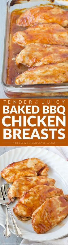 Tender and Juicy Oven Baked Barbecued Chicken Breasts | YellowBlissRoad.com