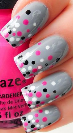 Gray Nails with Black, Pink, and White Polka Dots