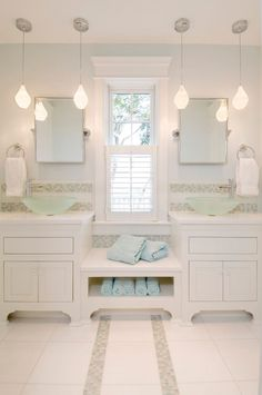 Inspiration For A Large Transitional Master Bathroom Remodel In Boston With A Vessel Sink Furniture Like Cabinets White Cabinets Multicolored Tile Mosaic Tile Blue Walls Ceramic Floors And Marble Countertops