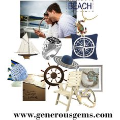 """Nautical Daydream"" by generousgems #oceanlove #lifestyle #usa #festival #sail #florida #allnatural #ahoy #birds #fashion #sunglasses #vintageclothing #vintagefashion #vintage #bnw #40s #summerstyle #1940s #nauticaldecor #cannygallery #decorations #interior #partydecor #gift #nauticalring #seathemejewelry #ocean #menswear #generousgems"