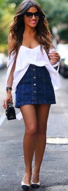 White Blouse + Denim Summer                                                                             Source