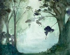 Trees in a Grove - Forest Watercolor by Christine Lindstrom  Ocean Grove, New Jersey,   United States