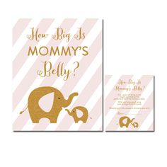 Baby Shower Blush Pink Gold Glitter Elephant - Game How Big is Mommy's Belly - Instant Download Printable