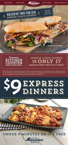 Pinned April 8th: $7 lunch in 7 minutes or free at #MacaroniGrill - $9 dinner in 9 minutes #coupon via The #Coupons App Restaurant Marketing, Grilling Gifts, 7 Minutes, Pulled Pork, Macaroni, Entrees, Coupons, Sandwiches, Food And Drink