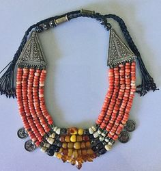Yemen antique coral Moroccan Amber rare beads silver ethnic multi necklace 珊瑚,琥珀 NSC102 by SavannaCaravan on Etsy