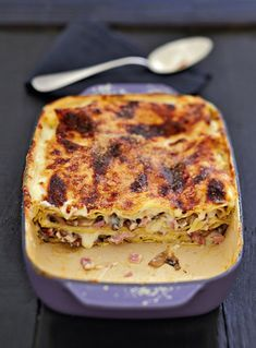 Lasagnes de champignons au jambon