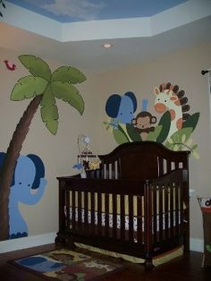 Jungle theme mural - Kids room murals by Leslie Michaels. So many ideas!!!