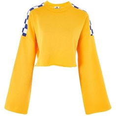 Dogtown Crop Sweatshirt by Ragged Priest ($52) ❤ liked on Polyvore featuring tops, hoodies, sweatshirts, yellow, cropped sweatshirt, mustard crop top, boxy crop top, checkered top and mustard yellow crop top