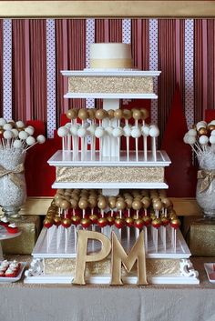 Gold and Red Wedding Dessert Table by Sweet Lauren Cakes