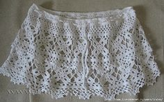 White Skirt Coverup with Square Flower Motif Rows free crochet graph pattern