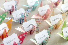 These origami paper crane name place cards are great for organizing seating. They can also double as wedding favors. Wedding Table Name Cards, Wedding Place Names, Wedding Place Settings, Wedding Name, Wedding Places, Paper Crane Wedding, Origami Paper Crane, Origami Birds, Origami Boat