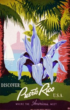 Discover Puerto Rico Travel Poster ___________________________________________________________________________ These are some of the Coolest Vintage Travel Posters. They Range in Age from the 1930s and up in to the early 1970s. #Vintagetravelposters