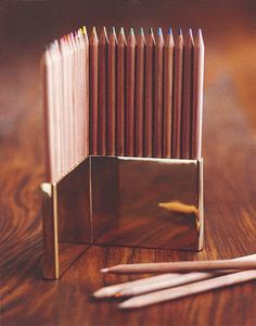 Roost Brass Pencil Holder & Colored Pencils