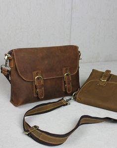 Handmade leather Briefcases men messenger Coffee shoulder bag vintage bag for him