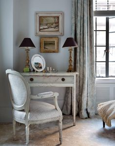 Eclectic Master Bedroom with Carpet, Uttermost Bridgely Aged Writing Desk
