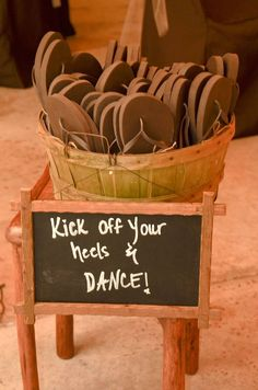 Outdoor Wedding Reception Ideas I Rustic Wedding Have flip flops available in your color scheme for those who want to dance all night. Also good for a party favor. Perfect Wedding, Fall Wedding, Church Wedding, Trendy Wedding, Wedding Ceremony, Country Wedding Inspiration, Country Wedding Favors, Rustic Country Weddings, Country Wedding Decorations