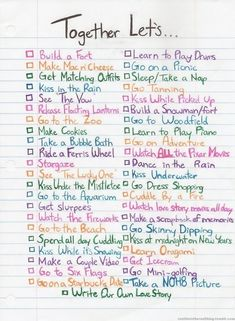 To do list with the boyfriend