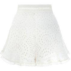 ZIMMERMANN Lovelorn Flutter Short (€320) ❤ liked on Polyvore featuring shorts, ruffle shorts, swim shorts, high-rise shorts, flared shorts and short swim shorts